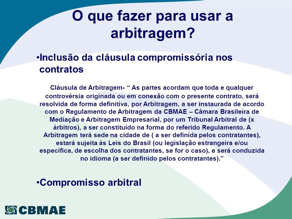 O que fazer para usar a arbitragem? Inclusão da cláusula compromissória nos contratos Cláusula de Arbitragem- As partes acordam que toda e qualquer co