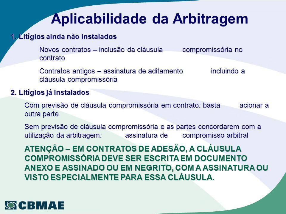 Aplicabilidade da Arbitragem 1. Litígios ainda não instalados Novos contratos – inclusão da cláusula compromissória no contrato Contratos antigos – as