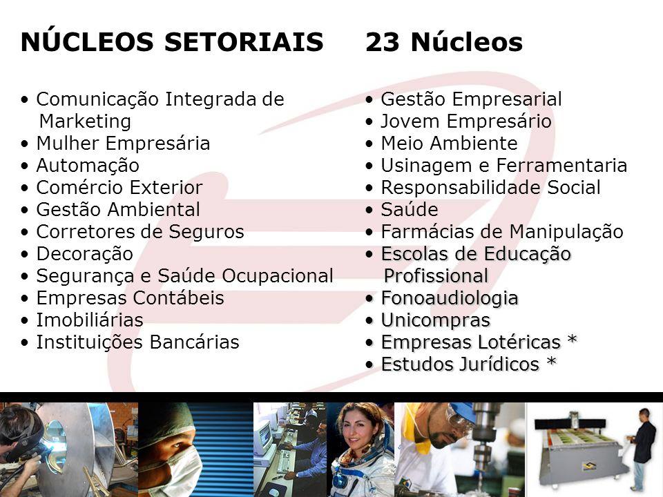 NÚCLEOS SETORIAIS Comunicação Integrada de Marketing Mulher Empresária Automação Comércio Exterior Gestão Ambiental Corretores de Seguros Decoração Se