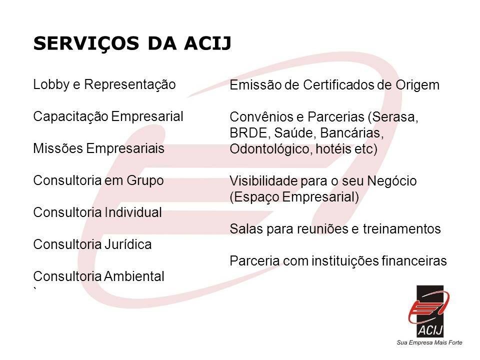 SERVIÇOS DA ACIJ Lobby e Representação Capacitação Empresarial Missões Empresariais Consultoria em Grupo Consultoria Individual Consultoria Jurídica C