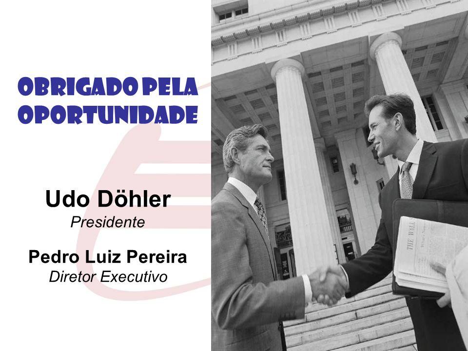 OBRIGADO PELA OPORTUNIDADE Udo Döhler Presidente Pedro Luiz Pereira Diretor Executivo