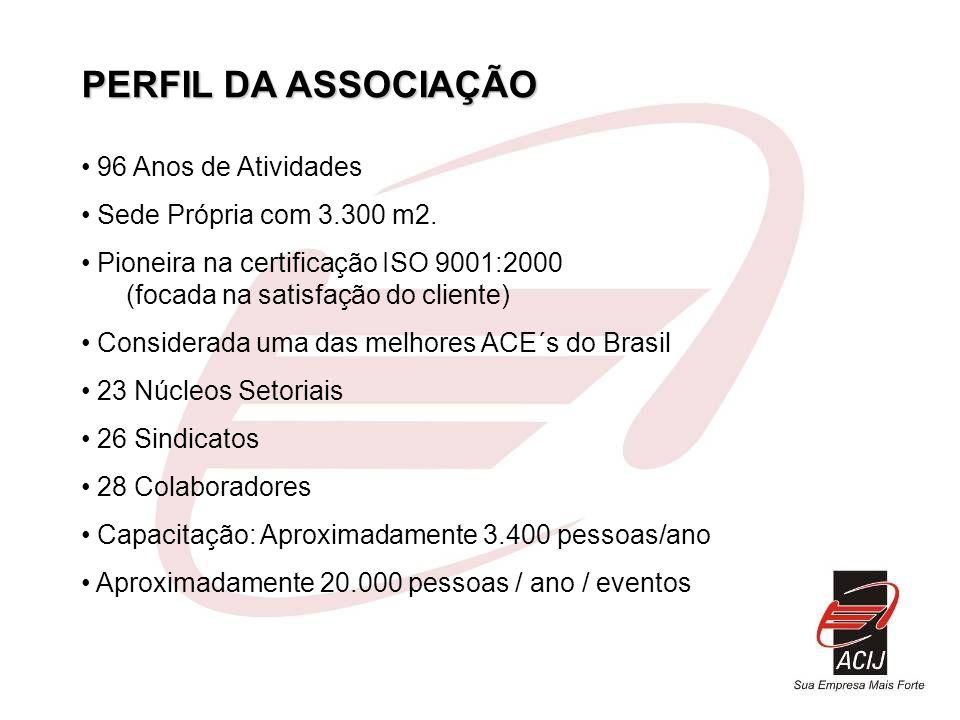 PERFIL DA ASSOCIAÇÃO 96 Anos de Atividades Sede Própria com 3.300 m2. Pioneira na certificação ISO 9001:2000 (focada na satisfação do cliente) Conside