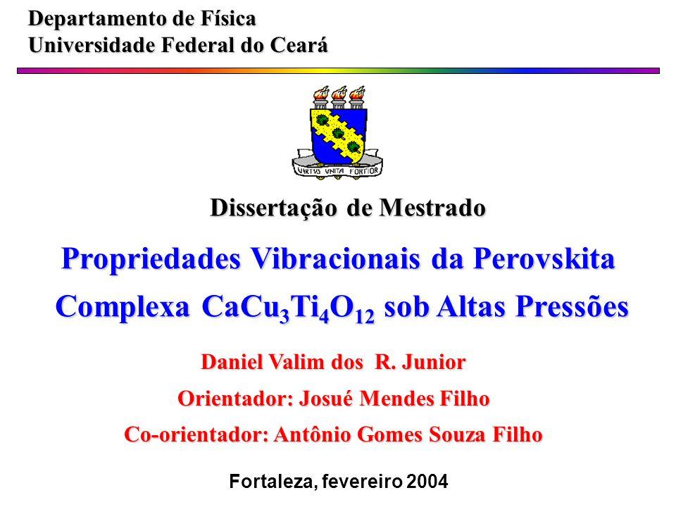 Filmes Finos de CCTO Substrato de Si/SiO 2 /Pt/ usando o método Pulsed Laser Deposition; Densidade de energia-2J/cm 2, freqüência-5 Hz; Alvo cerâmico preparado pela técnica convencional de misturas de óxidos; Espessuras – 250, 370, 480 e 610 nm.