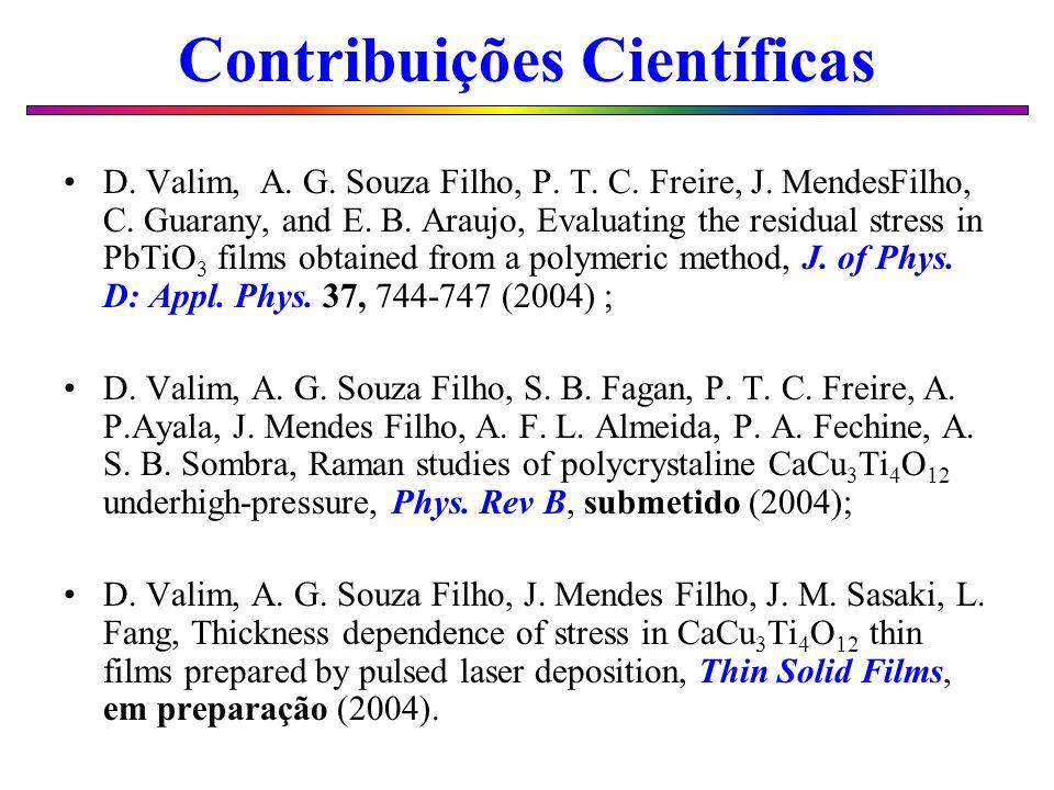 Contribuições Científicas D. Valim, A. G. Souza Filho, P. T. C. Freire, J. MendesFilho, C. Guarany, and E. B. Araujo, Evaluating the residual stress i