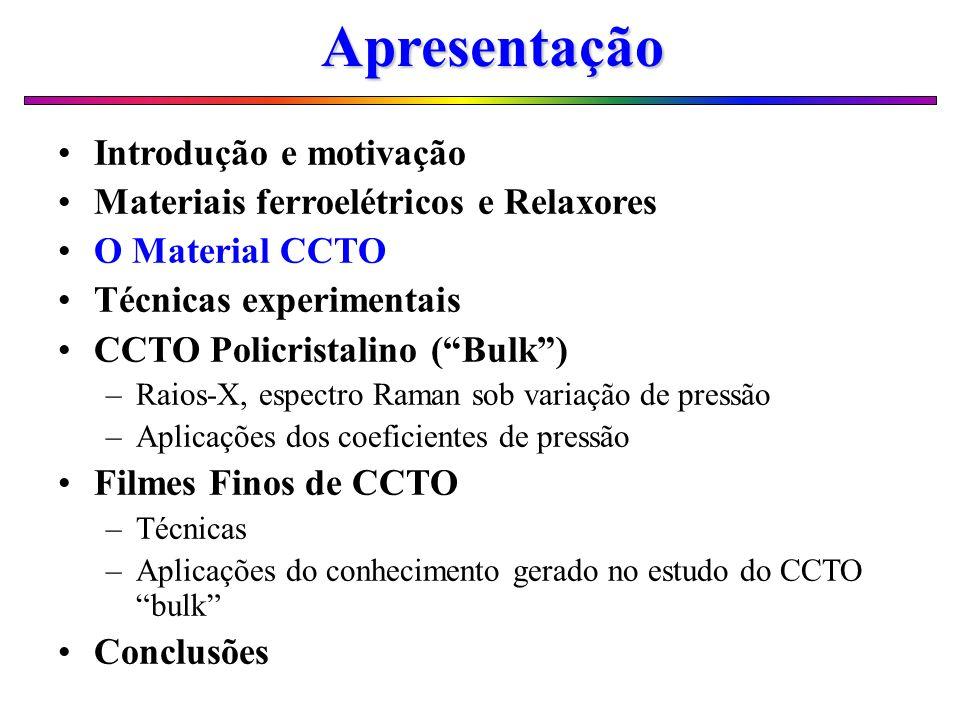 O Material CCTO Pertence a Família das Perovskitas Complexas; ACu 3 Ti 4 O 12 (A=Cd, Ca) Constante dielétrica elevada (8000 a 18000); constante no intervalo de temperaturas (100 a 600 K) e freqüências (10 Hz - 100 MHz); Não apresenta domínios ferroelétricos (estrutura centro-simétrica); Ausência de transições de fase Estruturais (20 < T < 600 K).