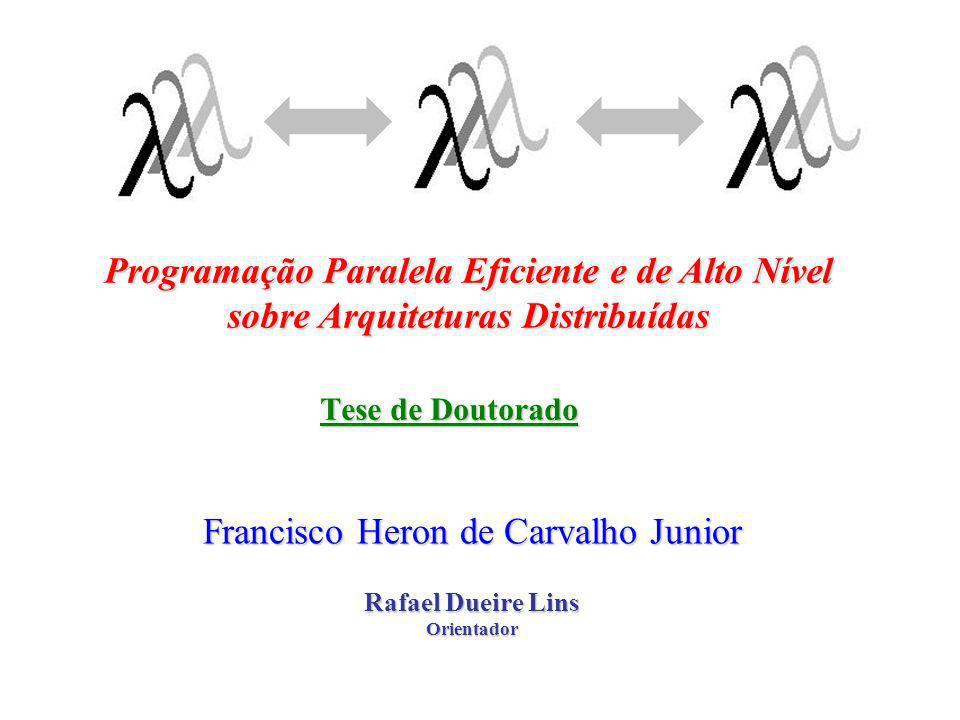 Antecedentes Idéias de Lins (a partir do final da década de 80);Idéias de Lins (a partir do final da década de 80); –Linguagens funcionais paralelas; –Hierarquia de processos; –Integração à ambiente de prova (redes de Petri); –Prototipação rápida e simulação de programas; –Incorporação de bibliotecas encapsuladas; Desenvolvimentos anteriores:Desenvolvimentos anteriores: –Haskell#: Lima, 2000 (tese de doutorado);Lima, 2000 (tese de doutorado); Carvalho, 2000 (dissertação de mestrado);Carvalho, 2000 (dissertação de mestrado);