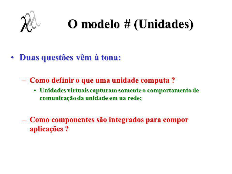 O modelo # (Unidades) Processos: unidades cuja computação é descrita por um componente simples;Processos: unidades cuja computação é descrita por um componente simples; –Processo são as unidades indivisíveis de programas dentro do modelo #; Clusters: unidades cuja computação é descrita por um componente composto;Clusters: unidades cuja computação é descrita por um componente composto; –Componentes podem ser aninhados a componentes; Composição hierárquica (aninhamento) de programas;Composição hierárquica (aninhamento) de programas; –Unidades podem ser entidade de execução paralela !!.