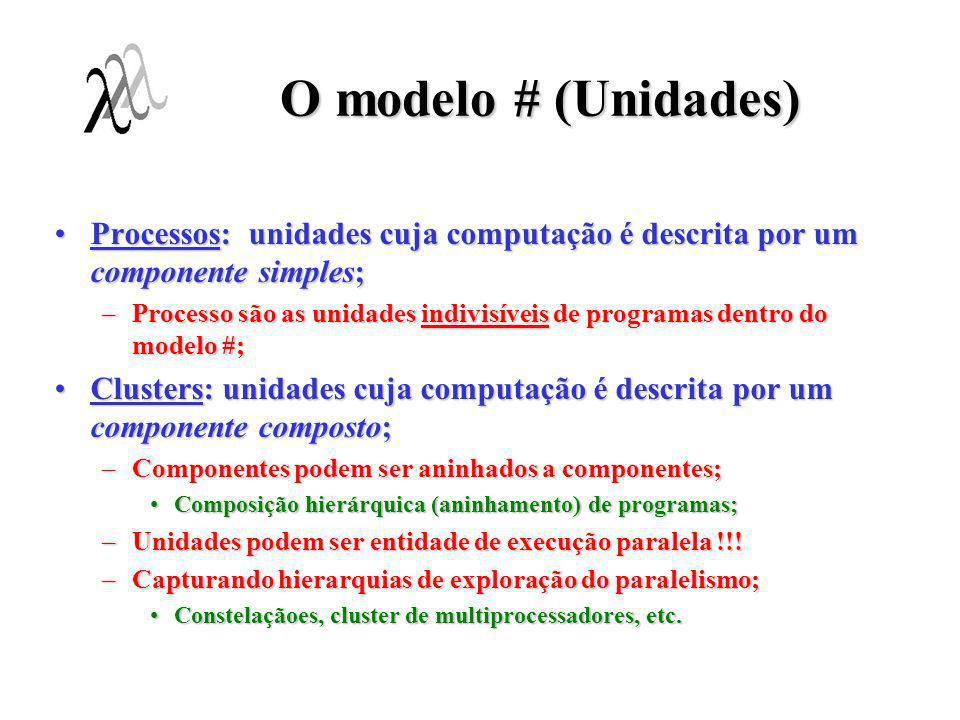 O modelo # (Unidades) Processos: unidades cuja computação é descrita por um componente simples;Processos: unidades cuja computação é descrita por um c