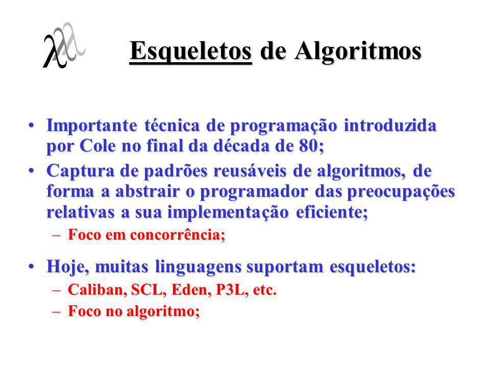 Esqueletos de Algoritmos Importante técnica de programação introduzida por Cole no final da década de 80;Importante técnica de programação introduzida