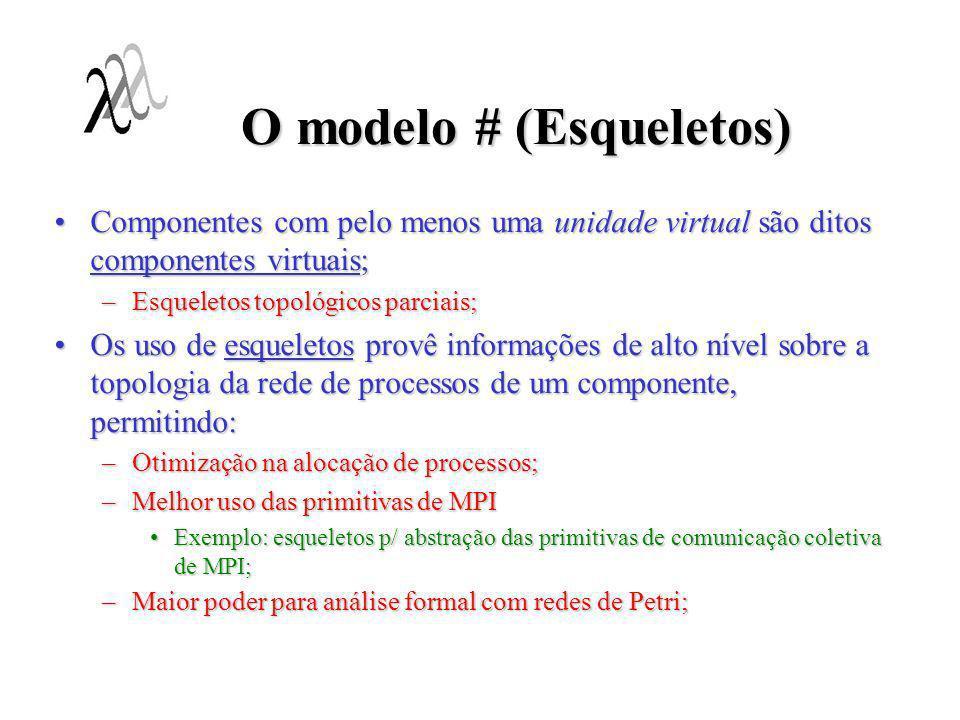 O modelo # (Esqueletos) Componentes com pelo menos uma unidade virtual são ditos componentes virtuais;Componentes com pelo menos uma unidade virtual s