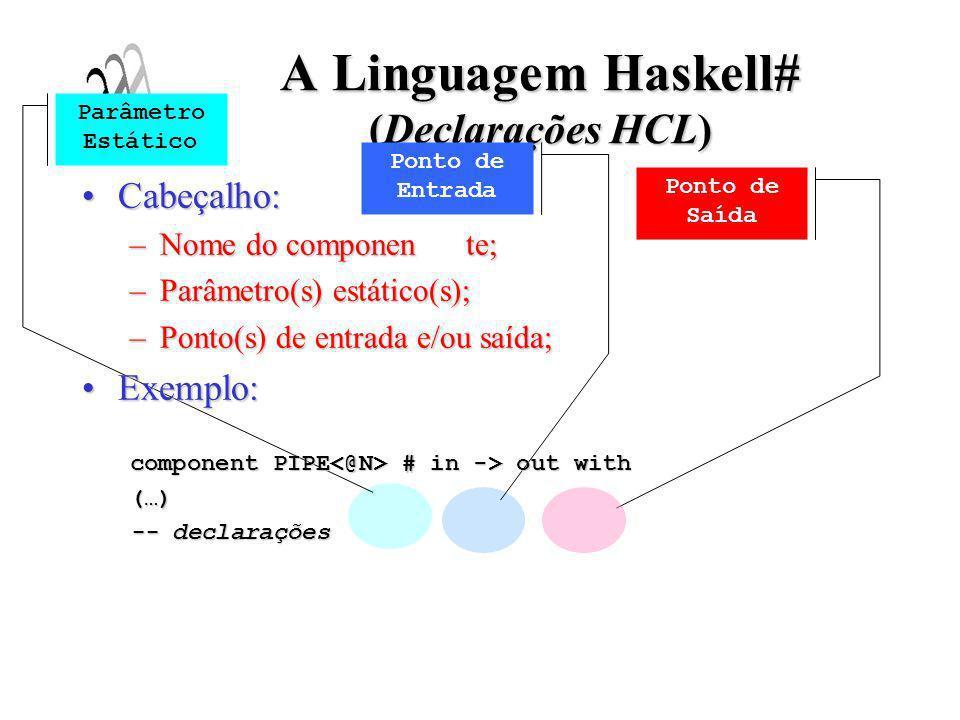 A Linguagem Haskell# (Declarações HCL) Declarando componentes que serão usados:Declarando componentes que serão usados: –Organizados em uma biblioteca hierárquica; Exemplos:Exemplos:(…) use module MatMult use module ReadMatrix use module ShowMatrix use configuration Skeletons.Common.TORUS use configuration Skeletons.Common.MESH (…) Componentes Simples Componentes Compostos