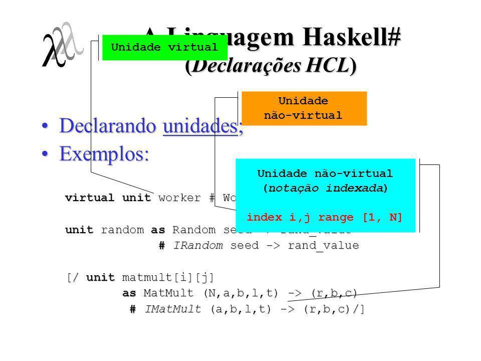 A Linguagem Haskell# (Declarações HCL) Declarando unidades;Declarando unidades; Exemplos:Exemplos: virtual unit worker # Worker inp -> outp unit rando
