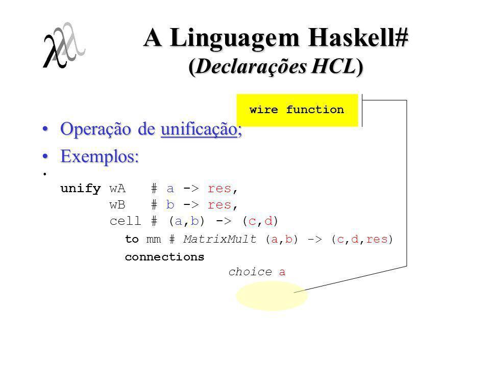 A Linguagem Haskell# (Declarações HCL) wire function Operação de unificação;Operação de unificação; Exemplos:Exemplos: unify wA # a -> res, wB # b ->
