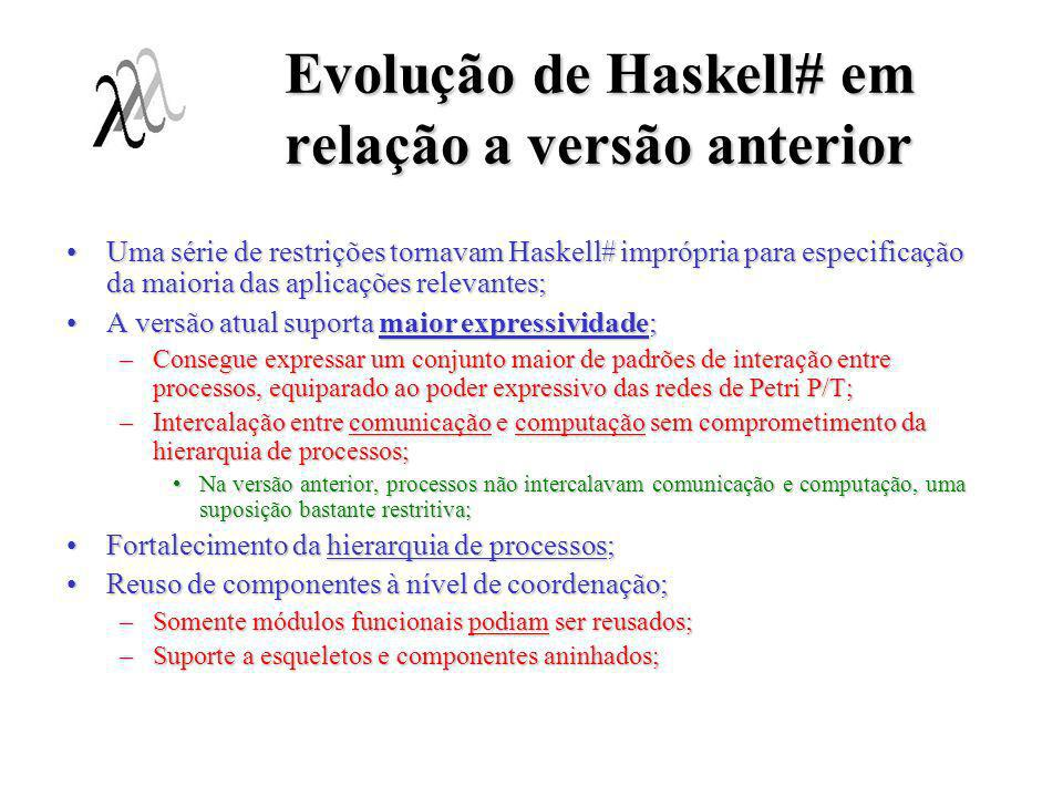 Trabalhos em Andamento para Conclusão da Tese Implementação de Haskell#;Implementação de Haskell#; –Geração de código MPI; Implementação dos esqueletos MPI;Implementação dos esqueletos MPI; –Tradução de código HCL para PNML (Petri Net Markup Language); Interface para ferramentas de análise de propriedadses formais de progrmas baseados em redes de Petri;Interface para ferramentas de análise de propriedadses formais de progrmas baseados em redes de Petri; –VHT (Visual Haskell# Tool); Atualmente sendo implementado em JAVA;Atualmente sendo implementado em JAVA; Suporte ao modelo # de programação;Suporte ao modelo # de programação;