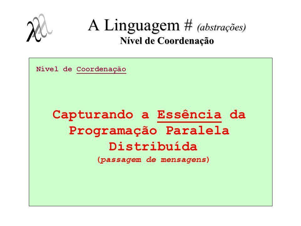 Nível de Coordenação Capturando a Essência da Programação Paralela Distribuída (passagem de mensagens) A Linguagem # (abstrações) Nível de Coordenação