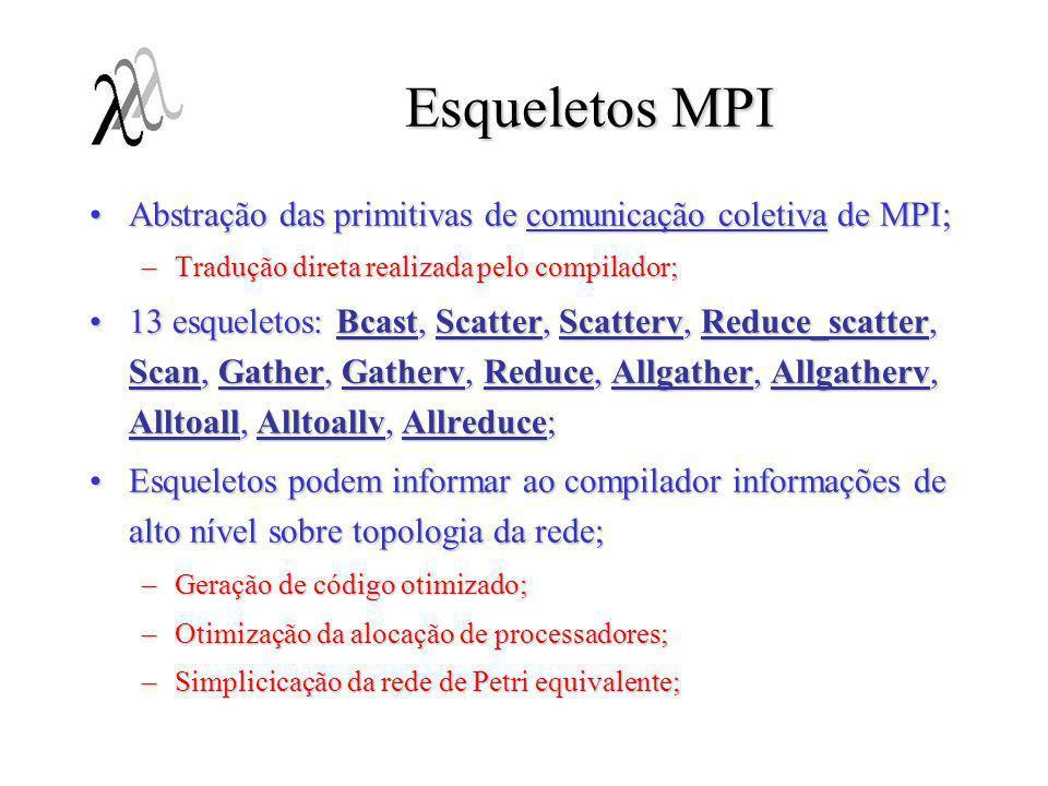 Esqueletos MPI Abstração das primitivas de comunicação coletiva de MPI;Abstração das primitivas de comunicação coletiva de MPI; –Tradução direta reali