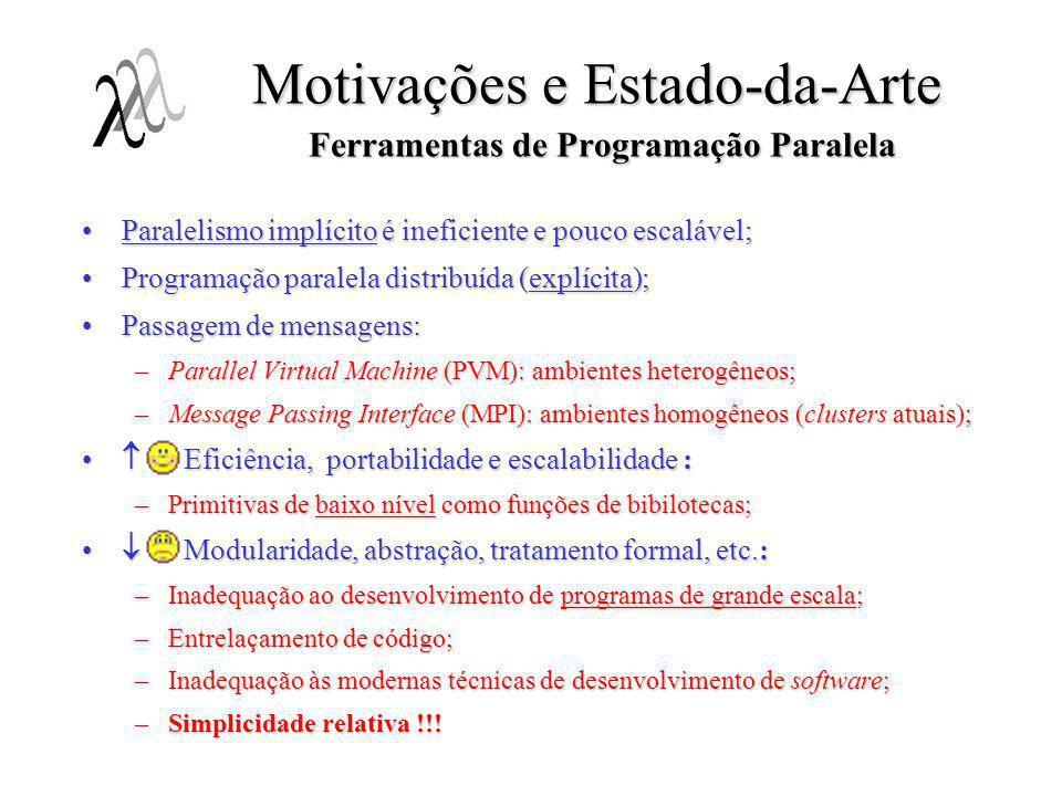 Motivações e Estado-da-Arte Ferramentas de Programação Paralela Paralelismo implícito é ineficiente e pouco escalável;Paralelismo implícito é ineficie