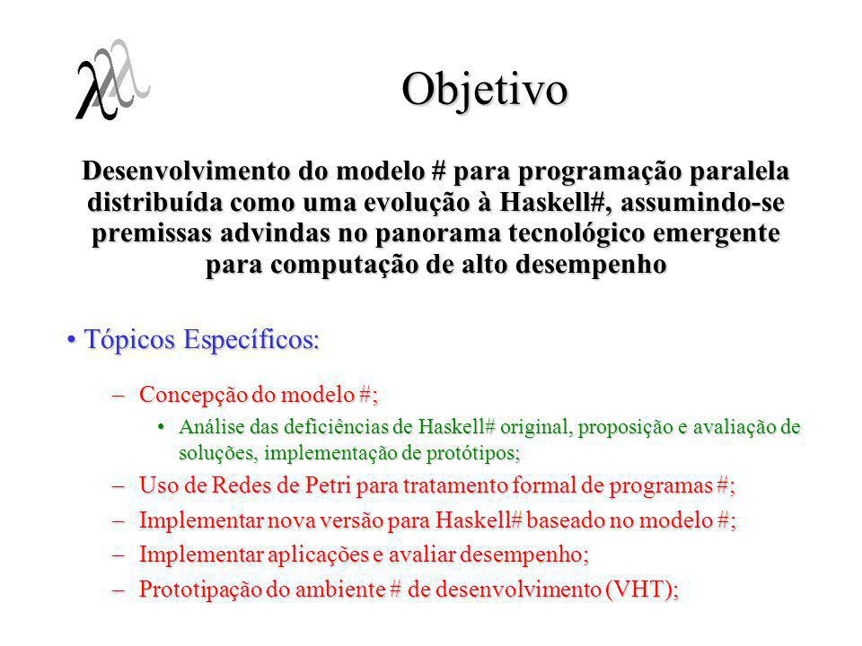 Objetivo Desenvolvimento do modelo # para programação paralela distribuída como uma evolução à Haskell#, assumindo-se premissas advindas no panorama t