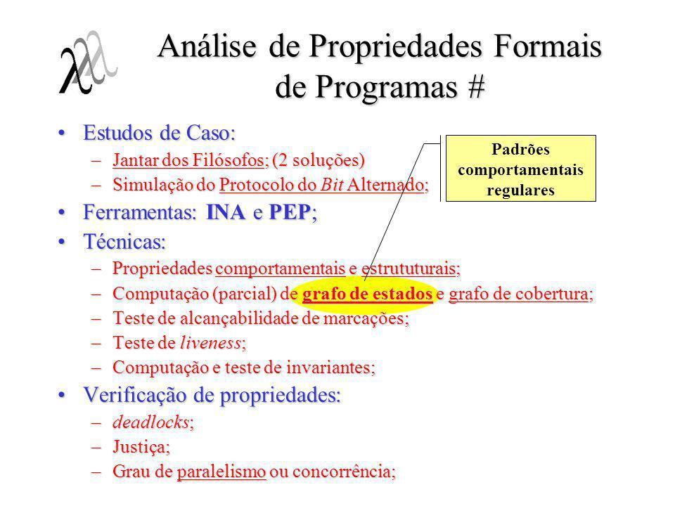 Estudos de Caso:Estudos de Caso: –Jantar dos Filósofos; (2 soluções) –Simulação do Protocolo do Bit Alternado; Ferramentas: INA e PEP;Ferramentas: INA