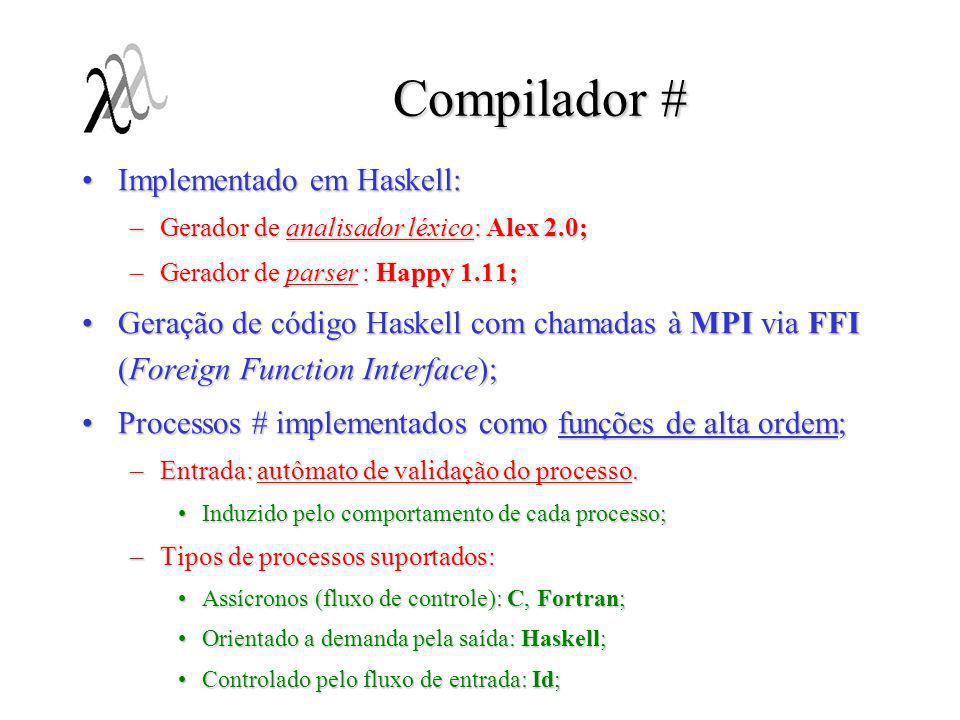 VHT (Visual # Tool) Ambiente integrado para a programação #:Ambiente integrado para a programação #: –Programação visual; –Uso de XML como formato de intercâmbio; –Geração de código na linguagem # a partir das especificações visuais; –Integração à ferramentas de análise de redes de Petri; Geração de código PNML e SPNL;Geração de código PNML e SPNL; –Execução do programa e debuging; Integrado ao LAM-MPI;Integrado ao LAM-MPI; Possível integração a ferramentas de debugging de programas MPI;Possível integração a ferramentas de debugging de programas MPI; Em fase desenvolvimento (prototipação).Em fase desenvolvimento (prototipação).