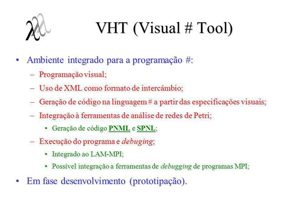 VHT (Visual # Tool) Ambiente integrado para a programação #:Ambiente integrado para a programação #: –Programação visual; –Uso de XML como formato de