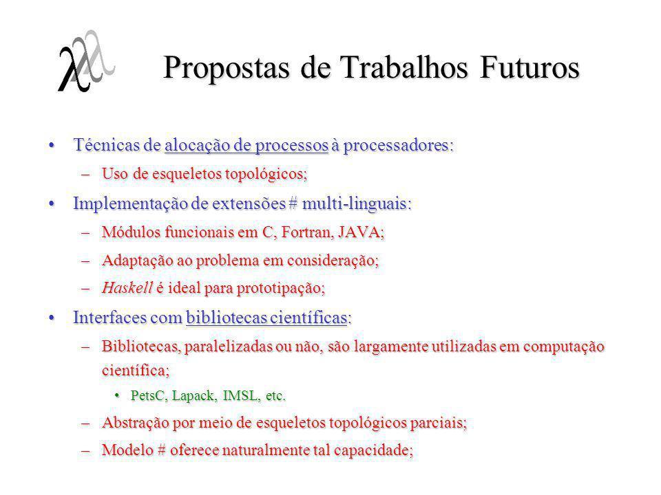 Propostas de Trabalhos Futuros Técnicas de alocação de processos à processadores:Técnicas de alocação de processos à processadores: –Uso de esqueletos