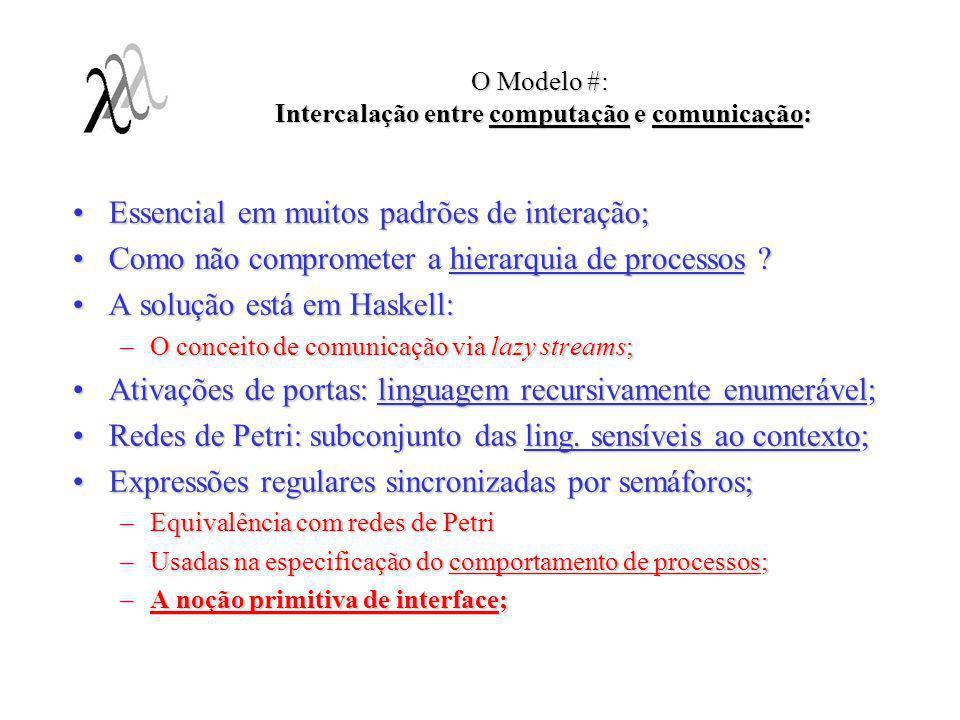 O Modelo #: Intercalação entre computação e comunicação: Essencial em muitos padrões de interação;Essencial em muitos padrões de interação; Como não c