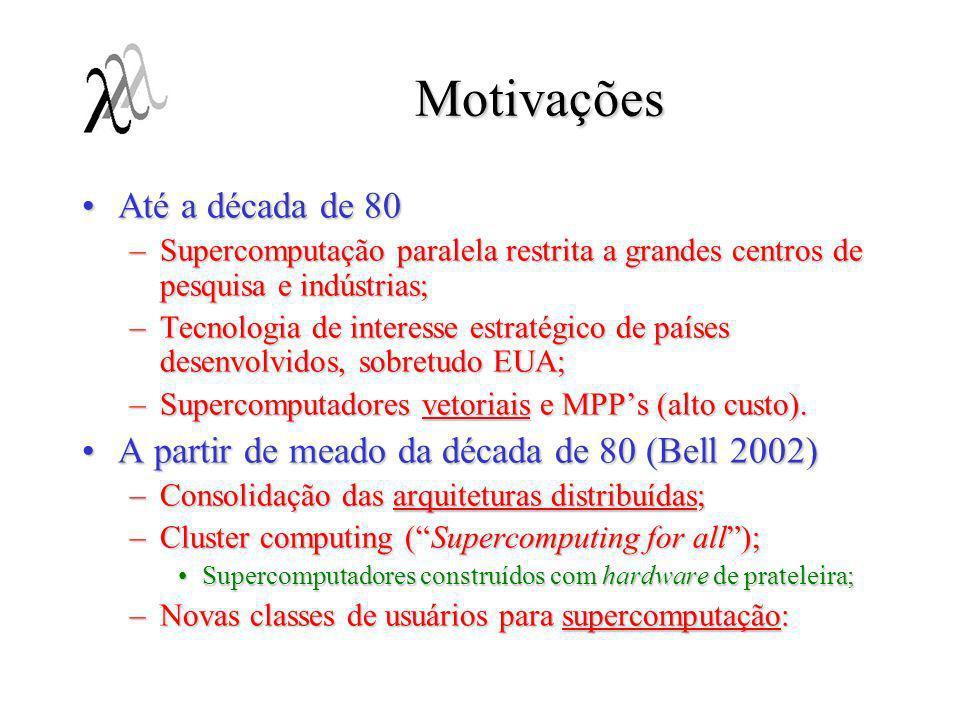 Motivações Até a década de 80Até a década de 80 –Supercomputação paralela restrita a grandes centros de pesquisa e indústrias; –Tecnologia de interess