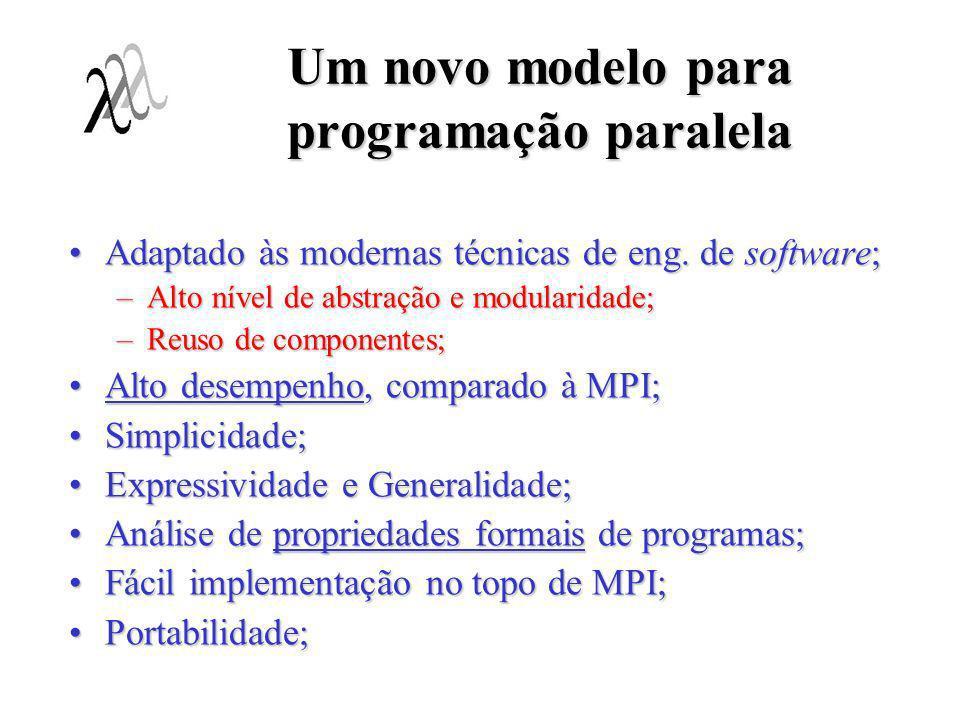 Um novo modelo para programação paralela Adaptado às modernas técnicas de eng. de software;Adaptado às modernas técnicas de eng. de software; –Alto ní