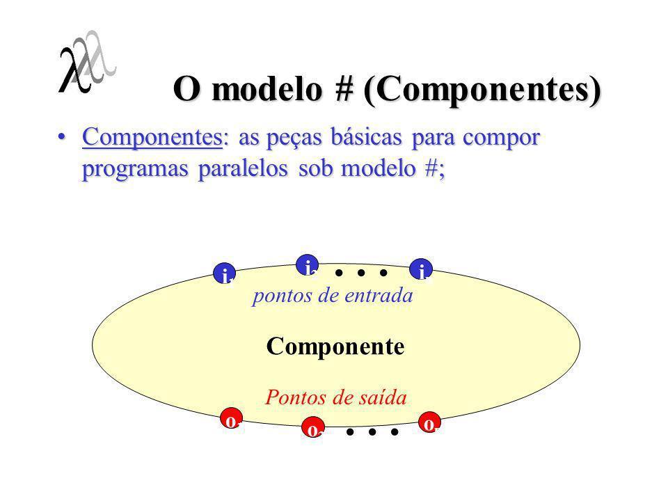 O modelo # (Componentes) Componentes realizam uma tarefa específica;Componentes realizam uma tarefa específica; Existem dois tipos de componentes:Existem dois tipos de componentes: –Simples: Entidades de execução sequencial;Entidades de execução sequencial; Implementam computações;Implementam computações; Descritos em uma linguagem sequencial;Descritos em uma linguagem sequencial; –Compostos: Entidades de execução paralela (mundo dos processos);Entidades de execução paralela (mundo dos processos); Mecanismo hierárquico de composição de programas;Mecanismo hierárquico de composição de programas; Um componente composto define a aplicação:Um componente composto define a aplicação: –Componente de aplicação; –Como descrever componentes compostos ?