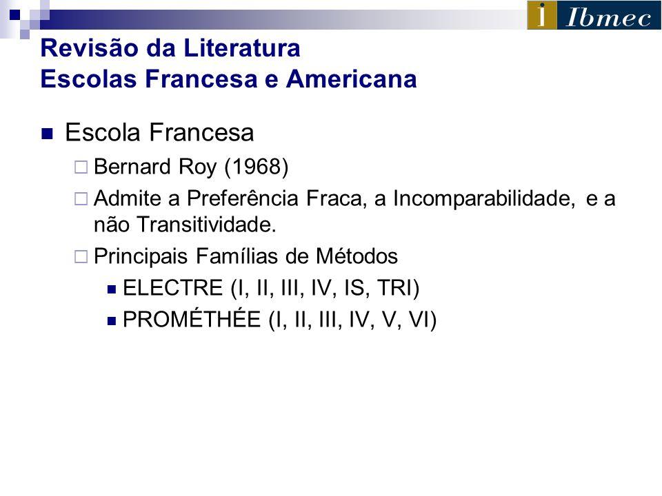 Revisão da Literatura Escolas Francesa e Americana Escola Francesa Bernard Roy (1968) Admite a Preferência Fraca, a Incomparabilidade, e a não Transit