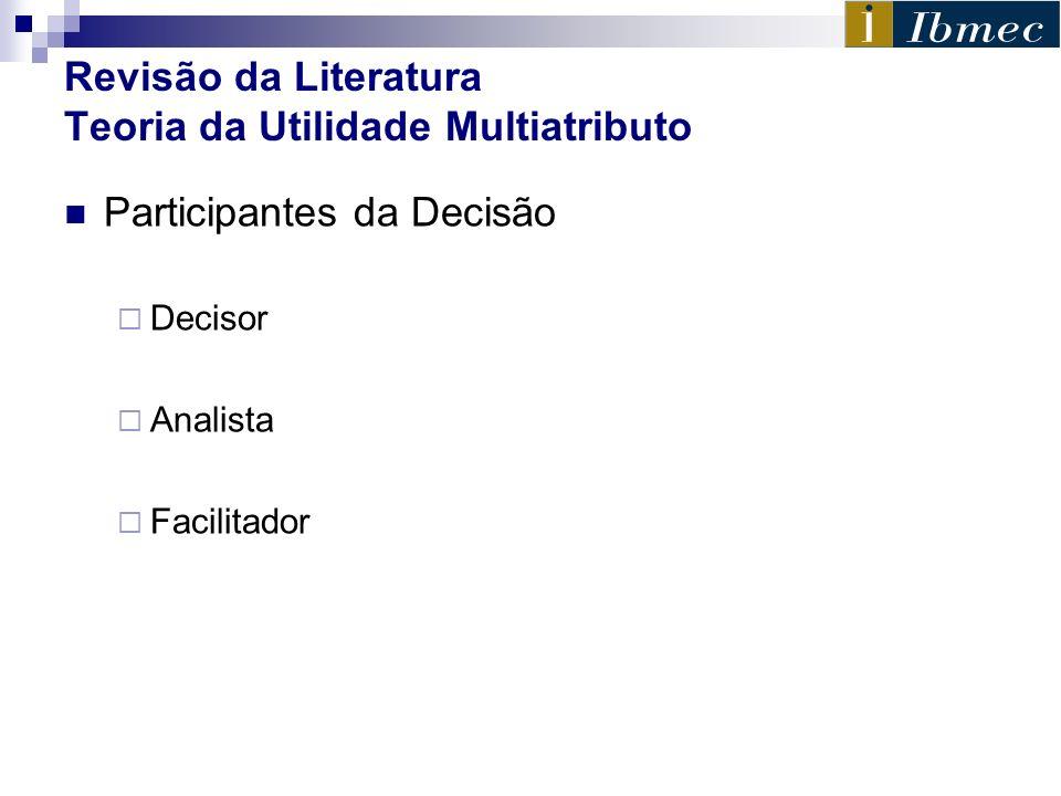 Revisão da Literatura Teoria da Utilidade Multiatributo Participantes da Decisão Decisor Analista Facilitador