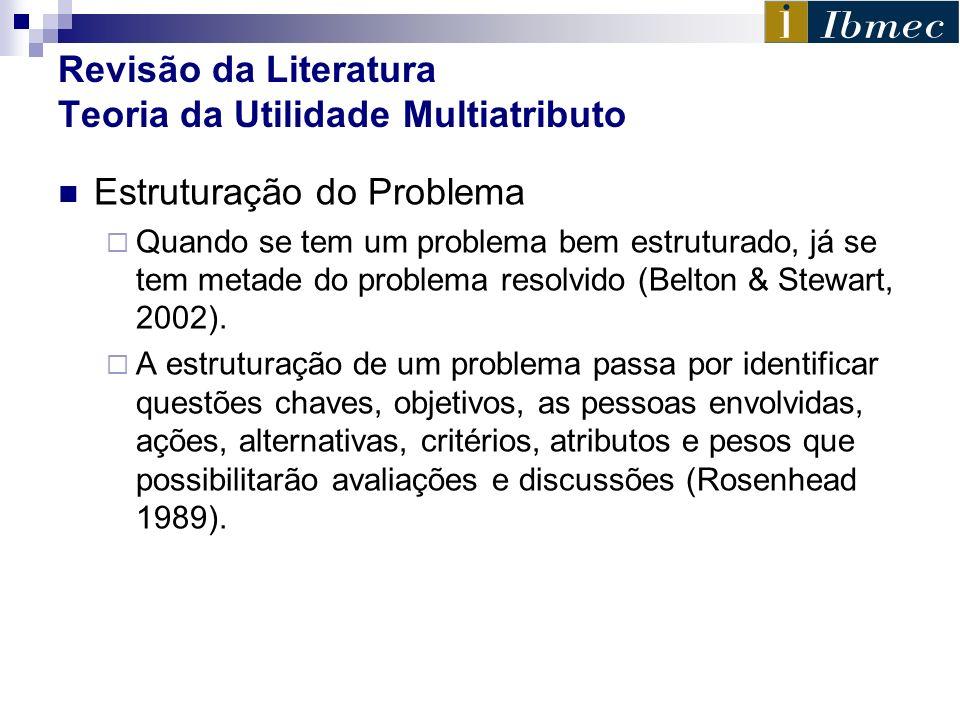 Revisão da Literatura Teoria da Utilidade Multiatributo Estruturação do Problema Quando se tem um problema bem estruturado, já se tem metade do proble