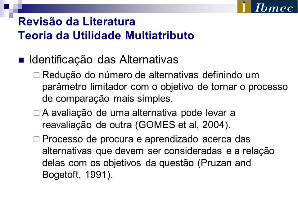 Revisão da Literatura Teoria da Utilidade Multiatributo Identificação das Alternativas Redução do número de alternativas definindo um parâmetro limita