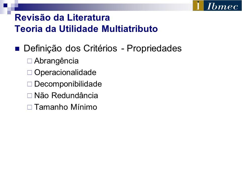 Revisão da Literatura Teoria da Utilidade Multiatributo Definição dos Critérios - Propriedades Abrangência Operacionalidade Decomponibilidade Não Redu