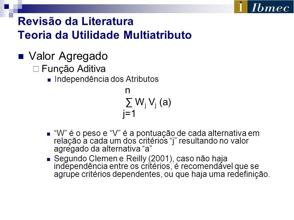 Revisão da Literatura Teoria da Utilidade Multiatributo Valor Agregado Função Aditiva Independência dos Atributos n W j V j (a) j=1 W é o peso e V é a
