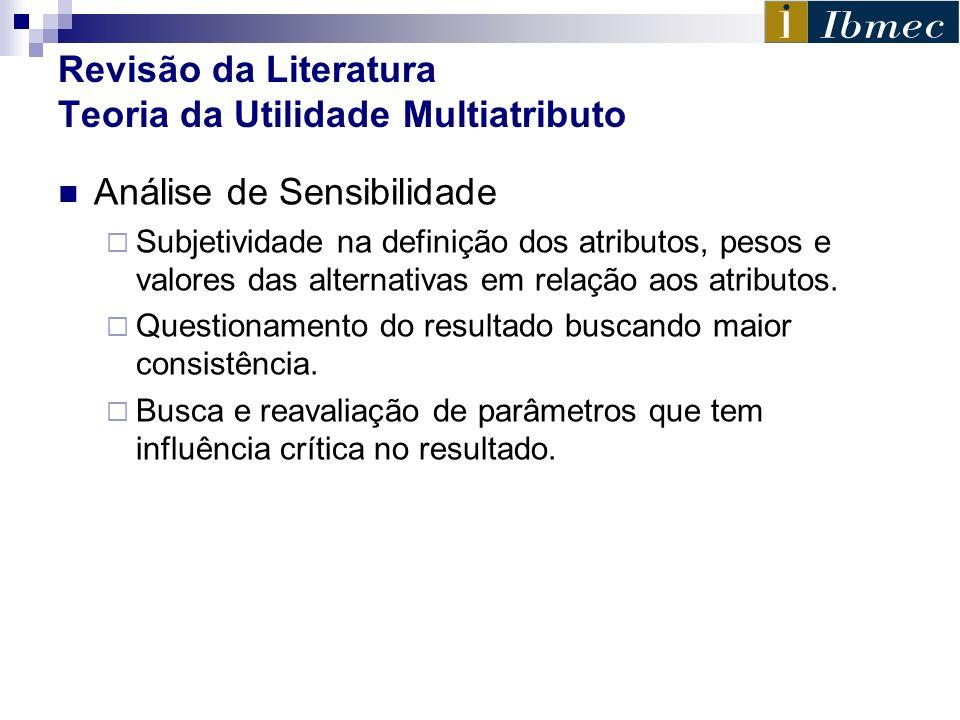 Revisão da Literatura Teoria da Utilidade Multiatributo Análise de Sensibilidade Subjetividade na definição dos atributos, pesos e valores das alterna