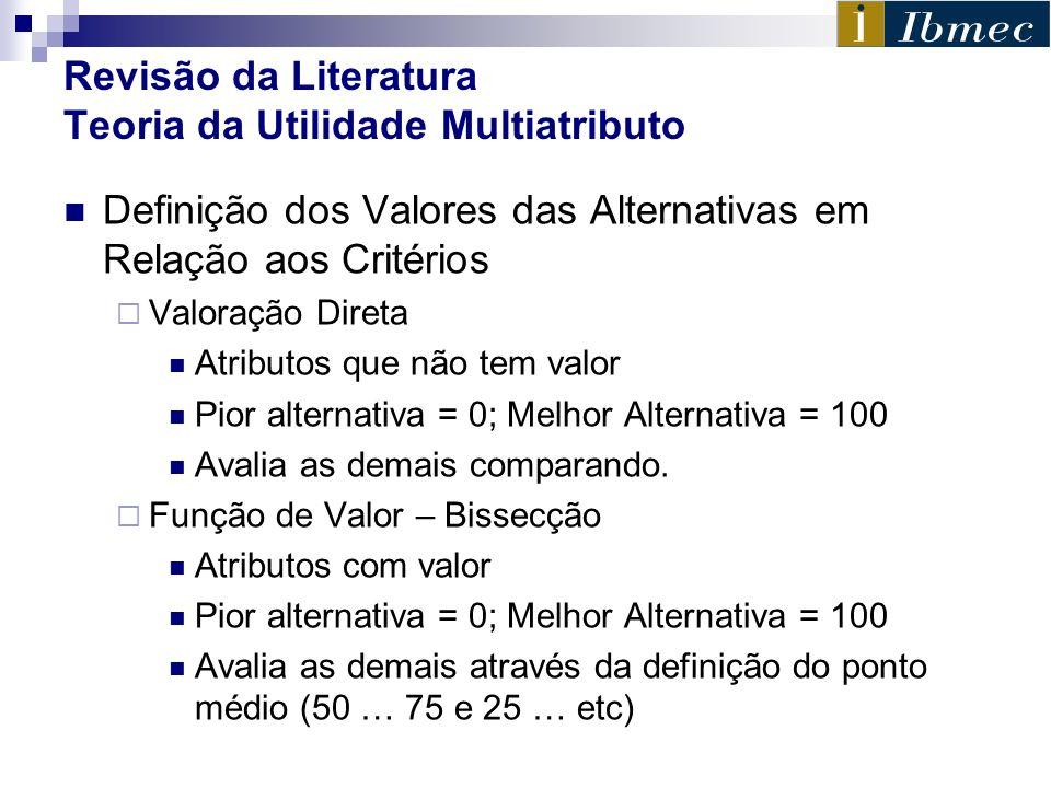 Revisão da Literatura Teoria da Utilidade Multiatributo Definição dos Valores das Alternativas em Relação aos Critérios Valoração Direta Atributos que