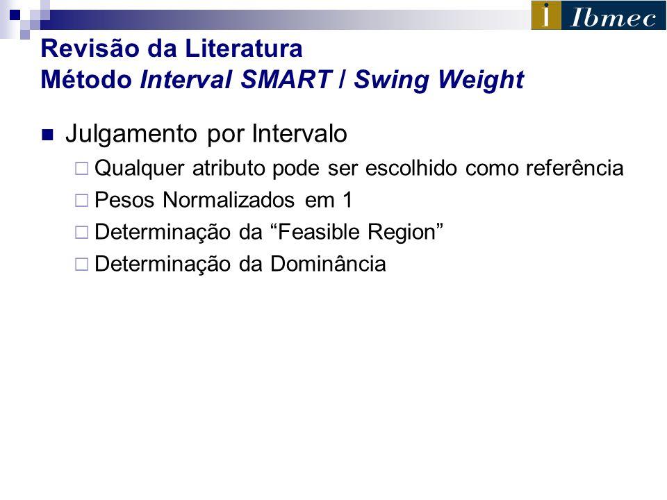 Revisão da Literatura Método Interval SMART / Swing Weight Julgamento por Intervalo Qualquer atributo pode ser escolhido como referência Pesos Normali