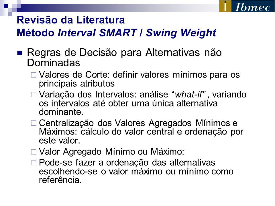 Revisão da Literatura Método Interval SMART / Swing Weight Regras de Decisão para Alternativas não Dominadas Valores de Corte: definir valores mínimos