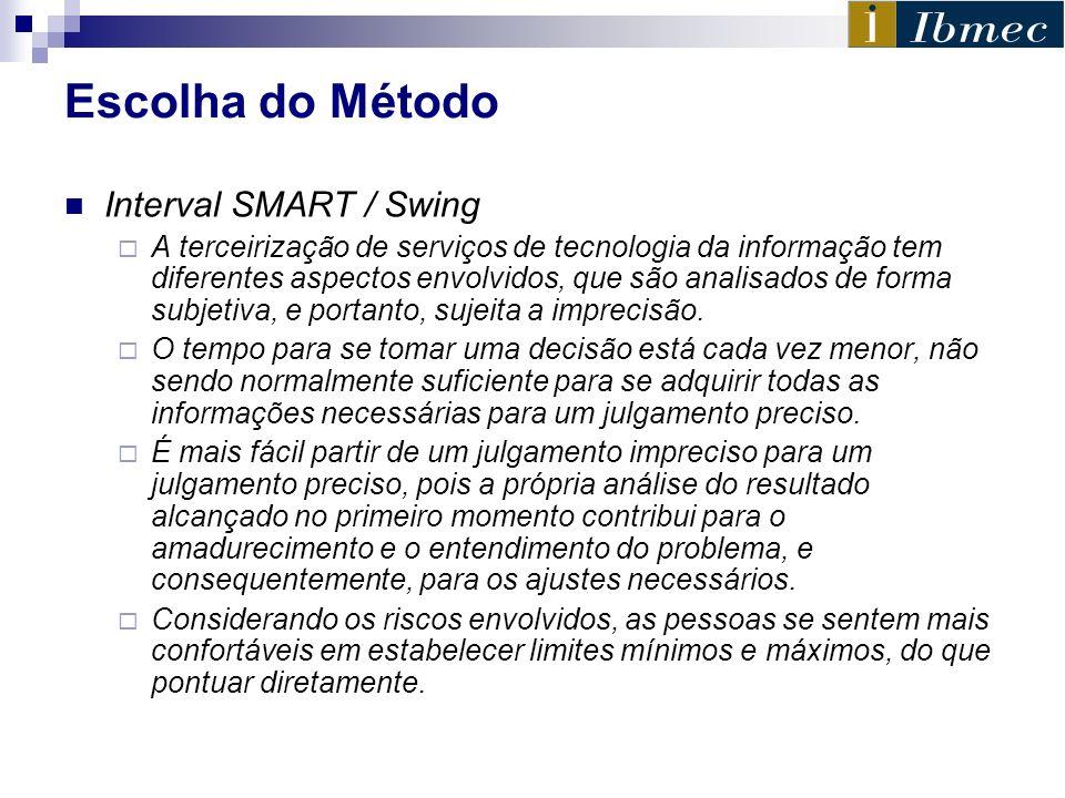 Escolha do Método Interval SMART / Swing A terceirização de serviços de tecnologia da informação tem diferentes aspectos envolvidos, que são analisado