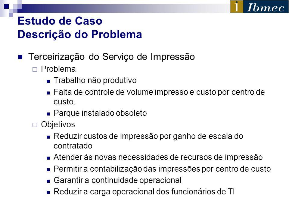 Estudo de Caso Descrição do Problema Terceirização do Serviço de Impressão Problema Trabalho não produtivo Falta de controle de volume impresso e cust