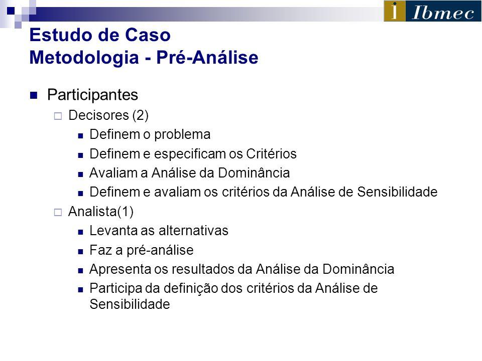 Estudo de Caso Metodologia - Pré-Análise Participantes Decisores (2) Definem o problema Definem e especificam os Critérios Avaliam a Análise da Dominâ