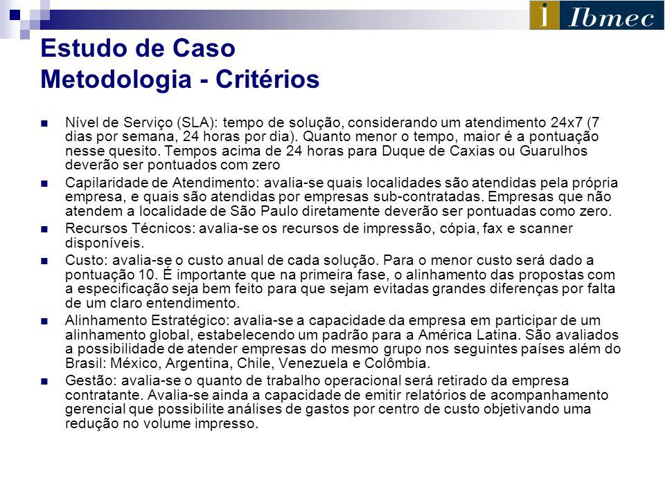 Estudo de Caso Metodologia - Critérios Nível de Serviço (SLA): tempo de solução, considerando um atendimento 24x7 (7 dias por semana, 24 horas por dia