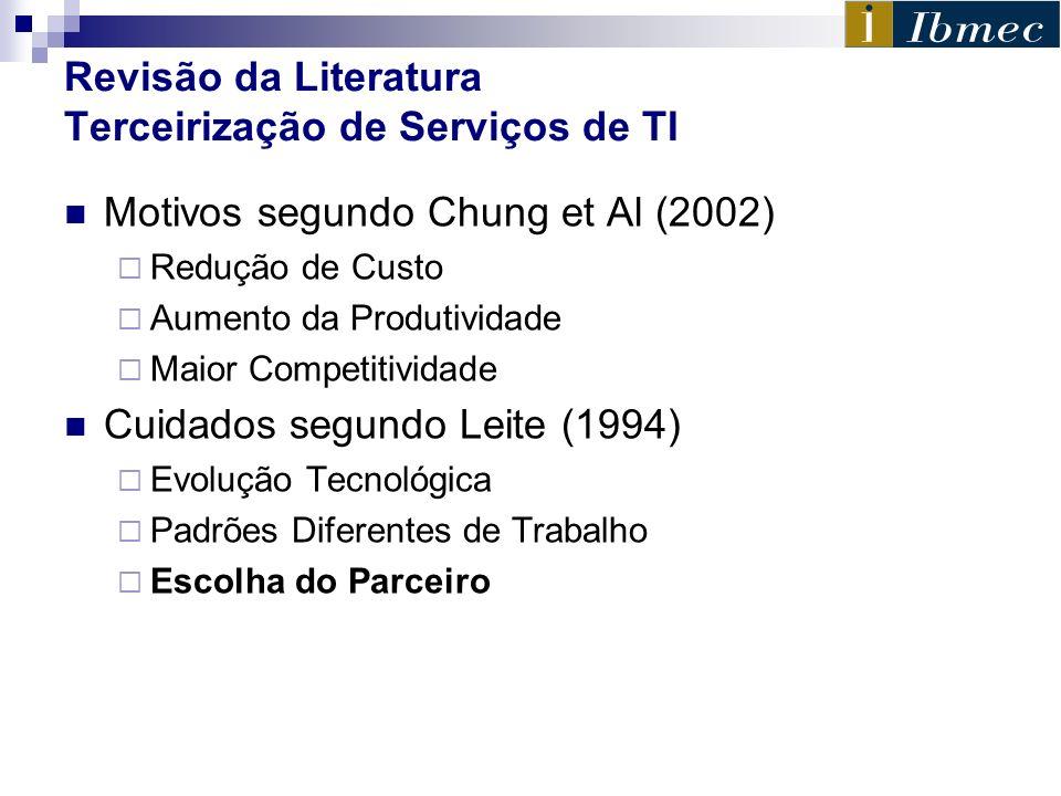 Revisão da Literatura Terceirização de Serviços de TI Motivos segundo Chung et Al (2002) Redução de Custo Aumento da Produtividade Maior Competitivida