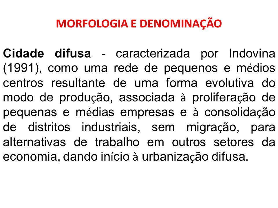 MORFOLOGIA E DENOMINAÇÃO Cidade difusa - caracterizada por Indovina (1991), como uma rede de pequenos e m é dios centros resultante de uma forma evolu