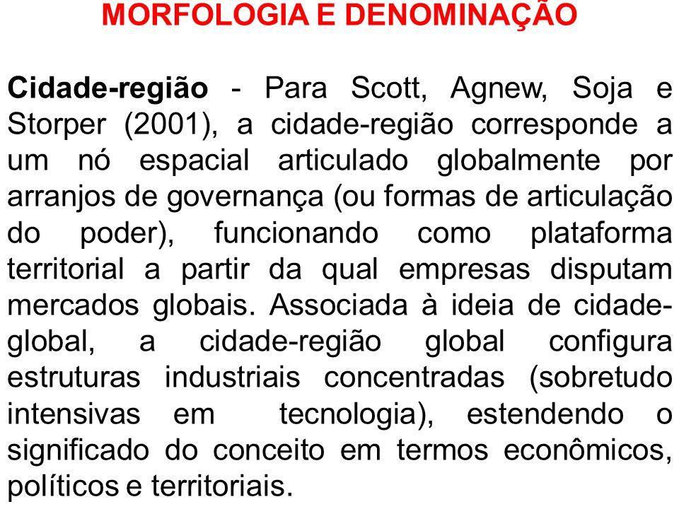 MORFOLOGIA E DENOMINAÇÃO Cidade-região - Para Scott, Agnew, Soja e Storper (2001), a cidade-região corresponde a um nó espacial articulado globalmente