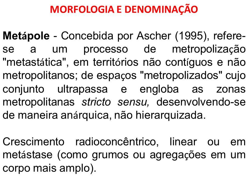 MORFOLOGIA E DENOMINAÇÃO Met á pole - Concebida por Ascher (1995), refere- se a um processo de metropoliza ç ão