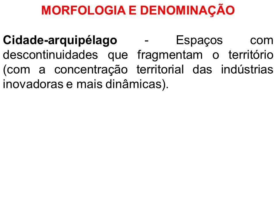 MORFOLOGIA E DENOMINAÇÃO Cidade-arquipélago - Espaços com descontinuidades que fragmentam o território (com a concentração territorial das indústrias
