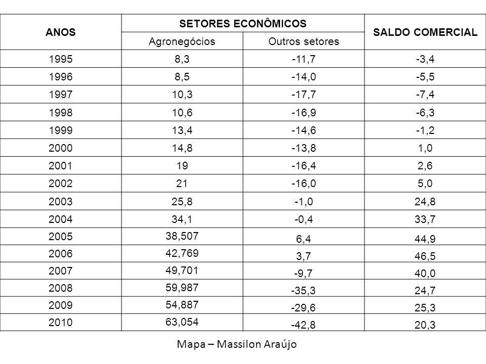 ANOS SETORES ECONÔMICOS SALDO COMERCIAL AgronegóciosOutros setores 19958,3-11,7-3,4 19968,5-14,0-5,5 199710,3-17,7-7,4 199810,6-16,9-6,3 199913,4-14,6